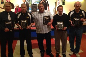 "2015 Hall of Fame Inductees (from L to R) Donnie Reeves,""Chief"" John Hicks, Ralph Rubeo, Jimmy ""Buck"" Buchakjian, Carmen Vitanza Sr, (not pictured) Henry Dunaway"